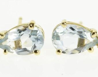 14k Pear Cut Blue Topaz Diamond Post Back Earrings Gold