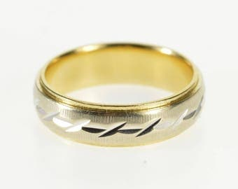 14k Two Tone Groove Textured Patterned Band Ring Gold