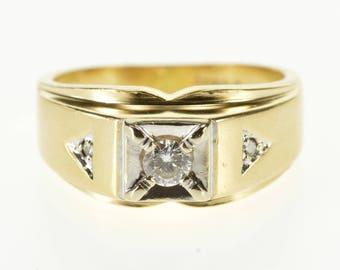 14k 0.30 Ctw Diamond Squared Accent Three Stone Ring Gold