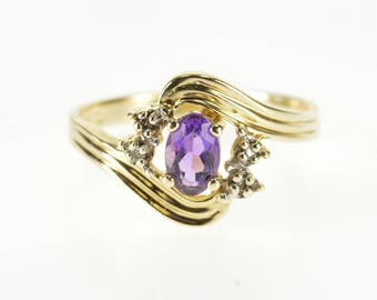14k Amethyst Diamond Accent Stone Grooved Bypass Ring Gold