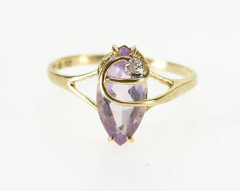10K Marquise Amethyst Diamond Accent Swirl Overlay Ring Size 6 Yellow Gold