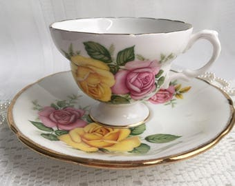 Jason Bone China Tea Cup and Saucer, Mismatch, Pink and Yellow Rose with Gold Trim