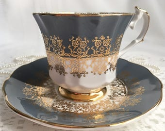 Elizabethan Fine Bone China Tea Cup and Saucer, Steel Grey with Gold Gilding and Trim