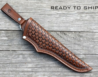 Leather knife sheath; handmade, tri weave stamping, brown - antique effect; knife sheath; custom knife sheath; bushcraft knife sheath
