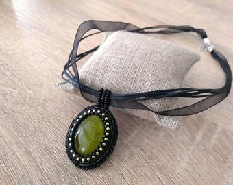 Necklace embroidered green and black glitter, pendant embroidered with beads, embroidery