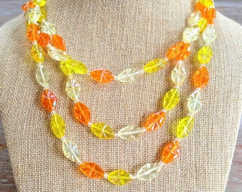 RARE West Germany Vintage Candy Necklace-Orange, Yellow, Triple Strand-Clear-Beaded, Unusual, So Retro-All Orders Only 99c Shipping!!
