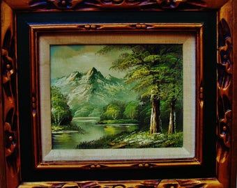 ORIGINAL ANTONIO TANO Oil Painting Landscape Artist Signed Vintage Canvas Winter Green Blue White Snow Wood Gold Framed Mountains Lake Trees
