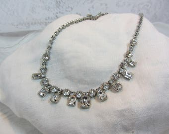 Vintage Weiss Clear Rhinestone and Silver Tone Base Metal Choker Necklace