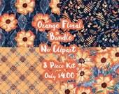Orange Floral Mystery Bundle 8 Sheets Planner Sticker-Erin Condren Sticker-Happy Planner Stickers-Floral Stickers