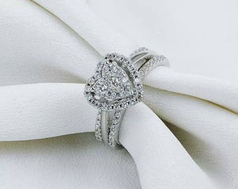 Heart Shape Round Cut Conflict Free Simulated Diamonds 925 Sterling Silver Wedding Engagement Ring 3 Pc Set accented by 68 pc brilliant Cz