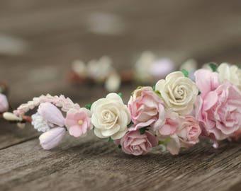 Blush Wedding Floral Crown - Champagne Wedding - Bridal Ivory Flower Crown - Wedding Ivory Hair - Wedding Hair Crown - Ivory Bridal Crown