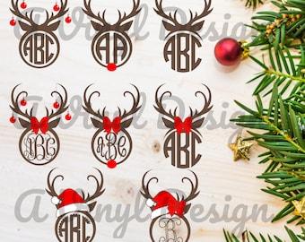 Reindeer Deer Monogram Heat Transfer Decal DIY