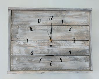 Rustic wood farmhouse clock. Shabby Chic handmade clock.