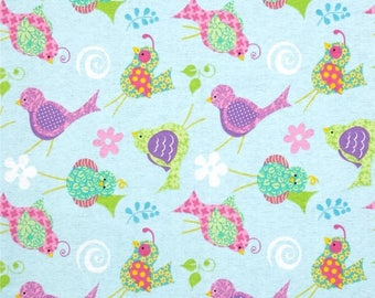 Fun Birds Cotton Flannel Fabric Fabric Tradtions Funky Birds    By the Yard