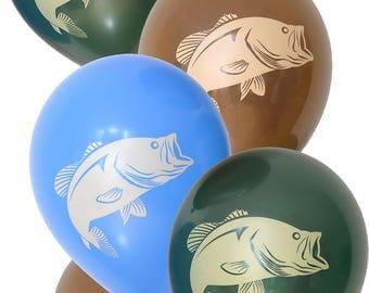 Bass Fishing Party Latex Balloons/Fishing Party Latex Balloons/ 6 Pack Bass Fishing Latex Balloons