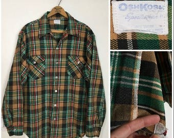 Vtg. 50s/60s Oshkosh Bgosh Selvedge Flannel Workwear Shirt, Union Made (Large)