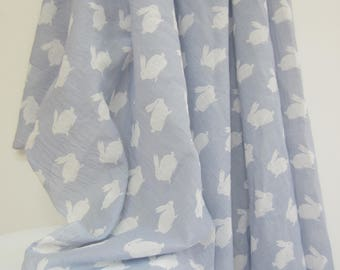 Muslin Wrap, Blue Grey, Baby Wrap, Nursery Decor, Baby Linen, Feeding Cover, Cotton, Baby Swaddle, Extra Large, Rabbit, Bunnies, Newborn