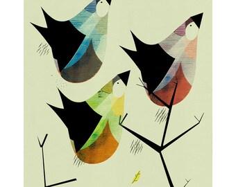 Autumn Bird's Print   Mid Century Modern   Giclée Art Print   308 gsm Hahnemühle fine art paper