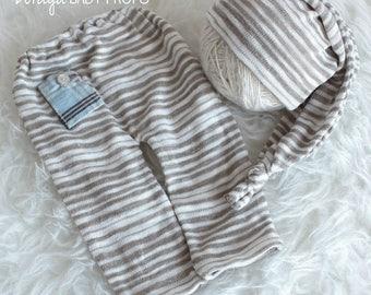 Newborn Prop,Boy Pants, Sleepy Hat, Beige Pants Set,Boys Props, Pastel, Newborn Photography, Baby Prop, Baby Photography, Vintage Prop