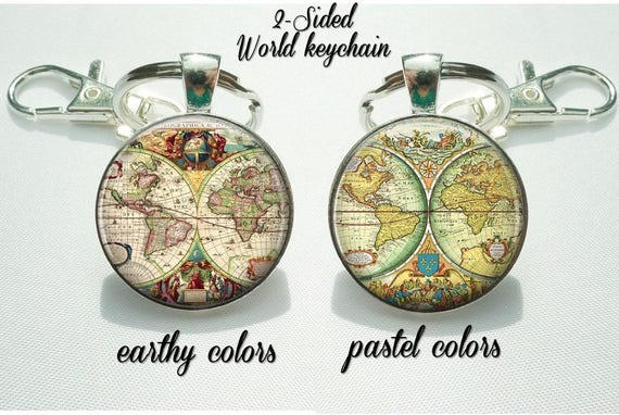 World map keychain double sided globe keyring gift for like this item gumiabroncs Gallery