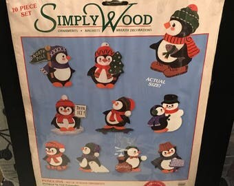 Simply Wood 06615 6 Penguins Ornaments Magnets Wreath Decorations Christmas Wood Cut Outs Kids Crafts Gift Ideas For Teacher Grandparents