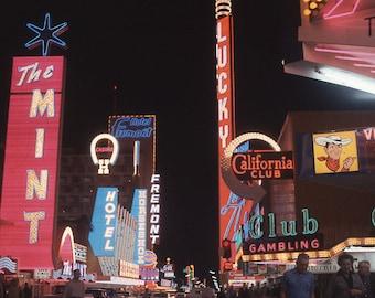 Vtg Color Transparent Photo Las Vegas Casino 1960's At Night