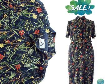 SALE   Vintage Floral Velvet Textured Cotton Dress   Straight Line Midi Button Up Dress with Belt   breathe and let it be