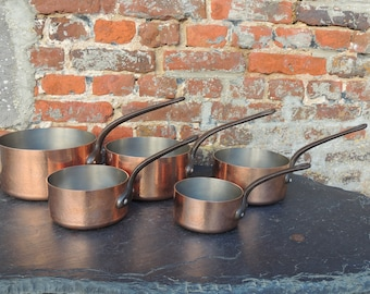 Set of 5 French hammered copper pans 6.6kgs / 2mm thickness High professional quality