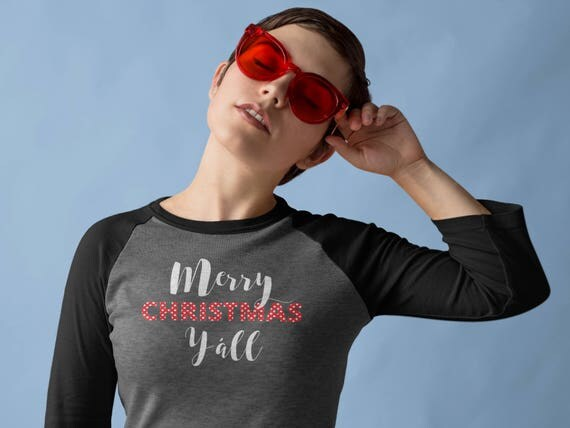 Merry Christmas Y'all 3/4 Sleeve Raglan Tshirt   Southern Christmas   Classy and Modern Holiday Shirt