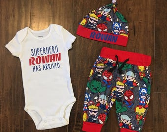 personalized boys coming home outfit, superhero baby shower gift, custom take home outfit boy, newborn photo outfit, baby boy clothing gift