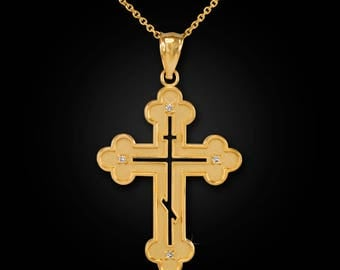 Gold Russian Eastern Orthodox Diamond Cross Pendant Necklace (yellow, white, rose gold)