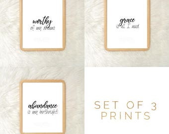 Set of 3 - Grace Worth Abundance  Gallery Wall Digital Prints |Black White| Monochromatic| Simple Minimal| Gallery| Living Room Decor| Faith