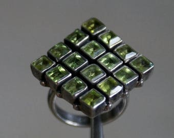 ON SALE Bold Peridot Silver Ring