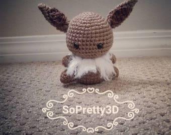 Crocheted Eevee Pokemon  Inspired Amigurumi! FREE SHIPPING too!