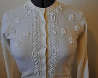 Vintage Monet Custom Tailors. Beaded Cardigan. 1950's. Neutral Ivory. Made in Hong Kong.