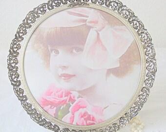 Vintage Round Silver Metal Filigrain Photo Frame, Bulb Glass