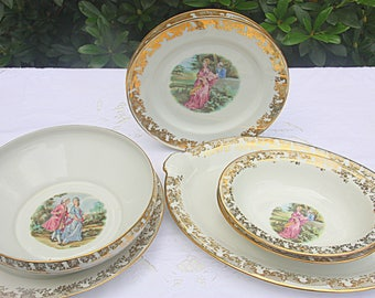 Romantic Vintage Dinner Service, Porcelain Table Ware, Two Person Service, Courting Couple Decor, Limoges France