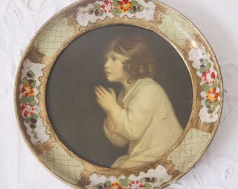 Small Vintage Round Framed Art by J Reynolds, Il Piccolo Samuele, Florentine Frame, Italy