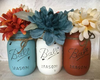 Painted Mason Jars. Fall Vases. Fall Decor. Rustic Decor. Home Decor. Thanksgiving Decor. Fall Wedding Centerpieces. Holiday Decor.
