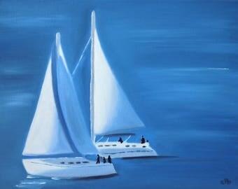 Sailboat Painting, 14 x 11, Oil Painting, Original Art, Yacht Art, Landscape Painting, Sailing Boat Art, Ocean Painting, Sailing Art