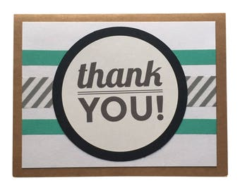 Thank You Card - Teal, striped, black greeting card