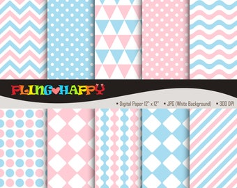 70% OFF Pink And Blue Digital Papers, Chevron/Polka Dot/Wave/Stripe Pattern Graphics, Personal & Small Commercial Use, Instant Download
