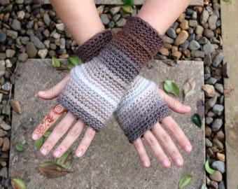 Fingerless wool gloves,long, brown cream beige custom colors, crochet, OOAK, hand warmers, men and women, hobo gloves,