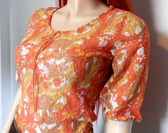 Original 1960's Lace Effect Pyshedelic Print Top - Size Small