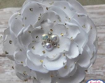 Flower Headband,White Flower Headband,Elegant White Flower Headband,White Flower Girl Headband,Wedding Headband,Baptism Headband,Flower Girl