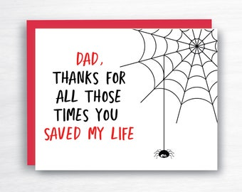 Dad Card - Dad Thank You Card - Father's Day Card - Dad Birthday Card - Dad Love You Card - Dad Super Hero Card - Dad Spider Card