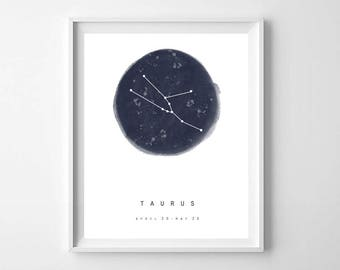 Taurus Zodiac Sign Print, PRINTABLE ART, Taurus star sign, Astrology Art, Zodiac Art Print, Constellation Print, Horoscope Art, Zodiac Print