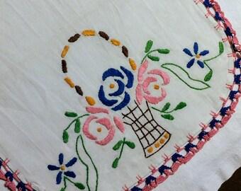 Vintage Pink & Blue Flowers Linen Table Runner/ Antique Table Runner/ Vintage Dresser Scarf / Hand Embroidered Table Piece, wedding