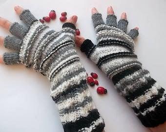 Men Size M 20% OFF Half Fingers OOAK Mittens Multicolor Hand Knitted Gloves Women Warm Accessories Unisex Wrist Warmers Winter Striped 1269