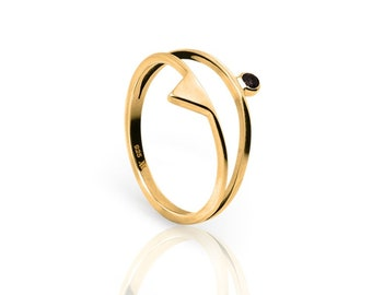 Gold plated double silver ring black cz - Gold ring black cz - Minimal jewelry - stacking ring - cubic zirconia ring - double ring cz